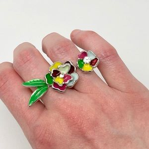 Jewelry - 💰5 for $15 Multicolor Floral Double Ring Sz 6.5/7